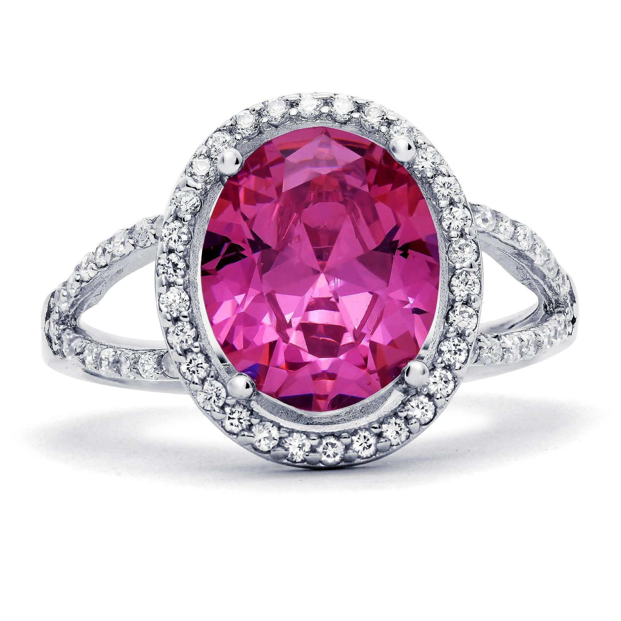 Sterling Silver Oval Simulated Pink Sapphire with Clear Cubic Zirconia Ring, 17mm (7)