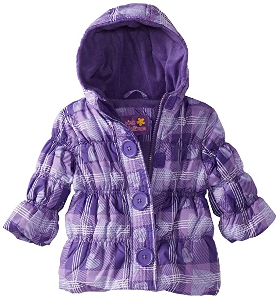 5a587858b Amazon.com  Pink Platinum Baby Girls  Heart Plaid Puffer