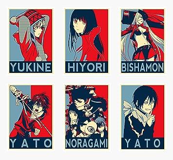 Wandkunst Noragami Anime Charaktere Hiyori Yukine Bishamon Yato Posterdruck Set 6
