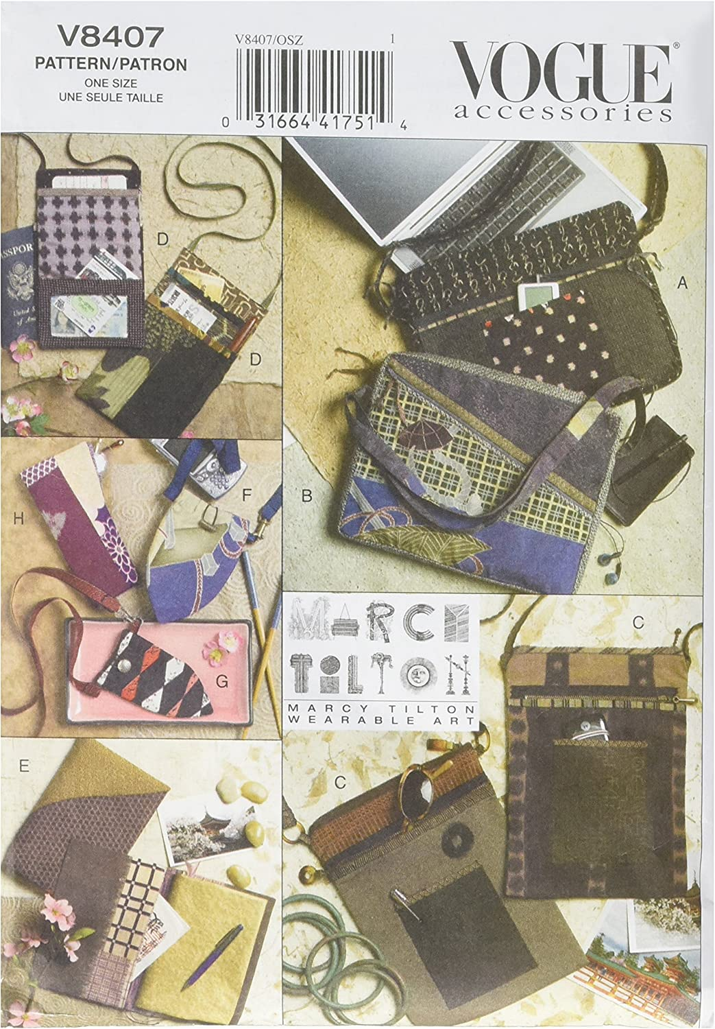 VOGUE PATTERNS V8407 Bags, Eyeglass Case and Journal Cover, One Size