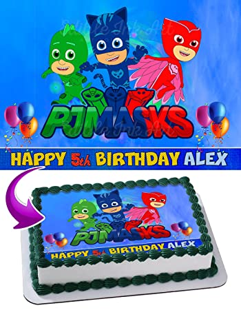 PJ Masks Disney Junior Birthday Cake Personalized Cake Toppers Icing Sugar Paper A4 Sheet Edible Frosting