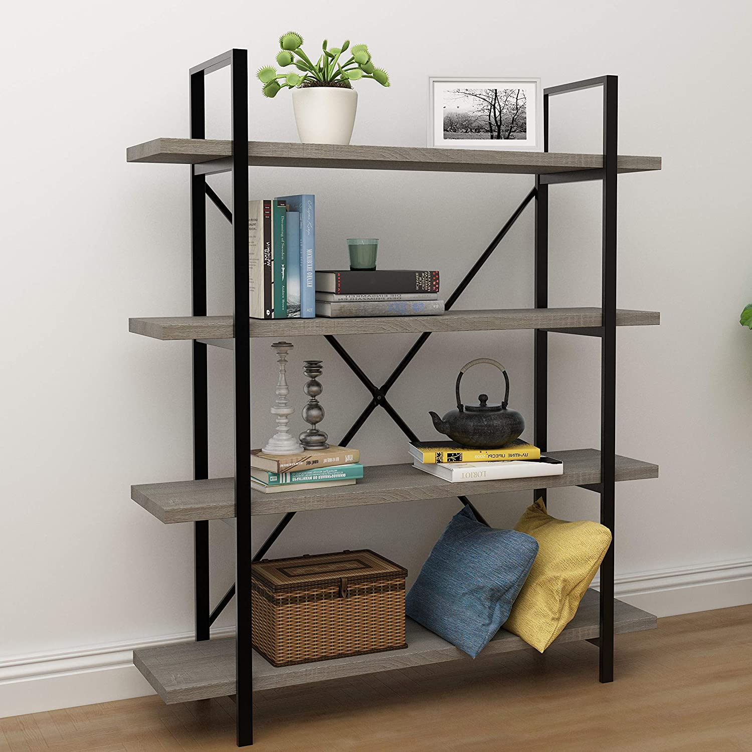 45MinST 4-Tier Vintage Industrial Style Bookcase Metal and Wood Bookshelf Furniture for Collection, Gray Oak 3 4 5 Tier 4-Tier