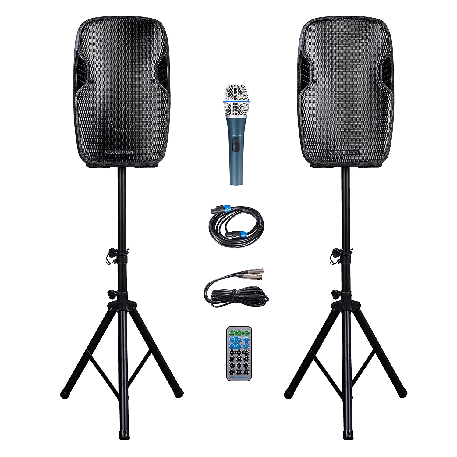Sound Town Portable 15'' 2500 Watt 2-Way Powered PA DJ Speaker System Combo Set with Bluetooth/Onboard Equalizer/USB/SD Card Reader/LED Light/1 Mic/2 Speaker Stands, for Party, Karaoke (DEIMOS-15PSC)