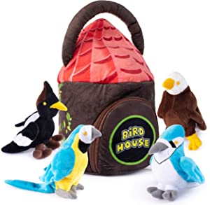 Plush Bird House Plush Toy Set | Includes 4 Talking Soft and Cute Plush Birds | with A Plush Bird House Shaped Carrier | Great Gift for Baby and Toddler Boys or Girls