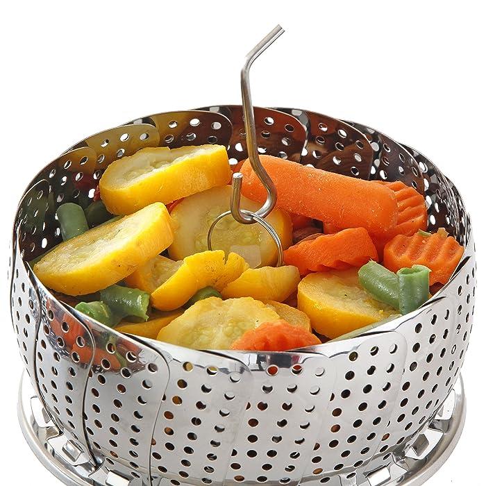 Standard Vegetable Steamer Basket Set - Steamer Insert for Instant Pot + Safety Tool - 100% Stainless Steel - Pressure Cooker & Instant Pot Accessories, Pot in Pot - Egg Rack