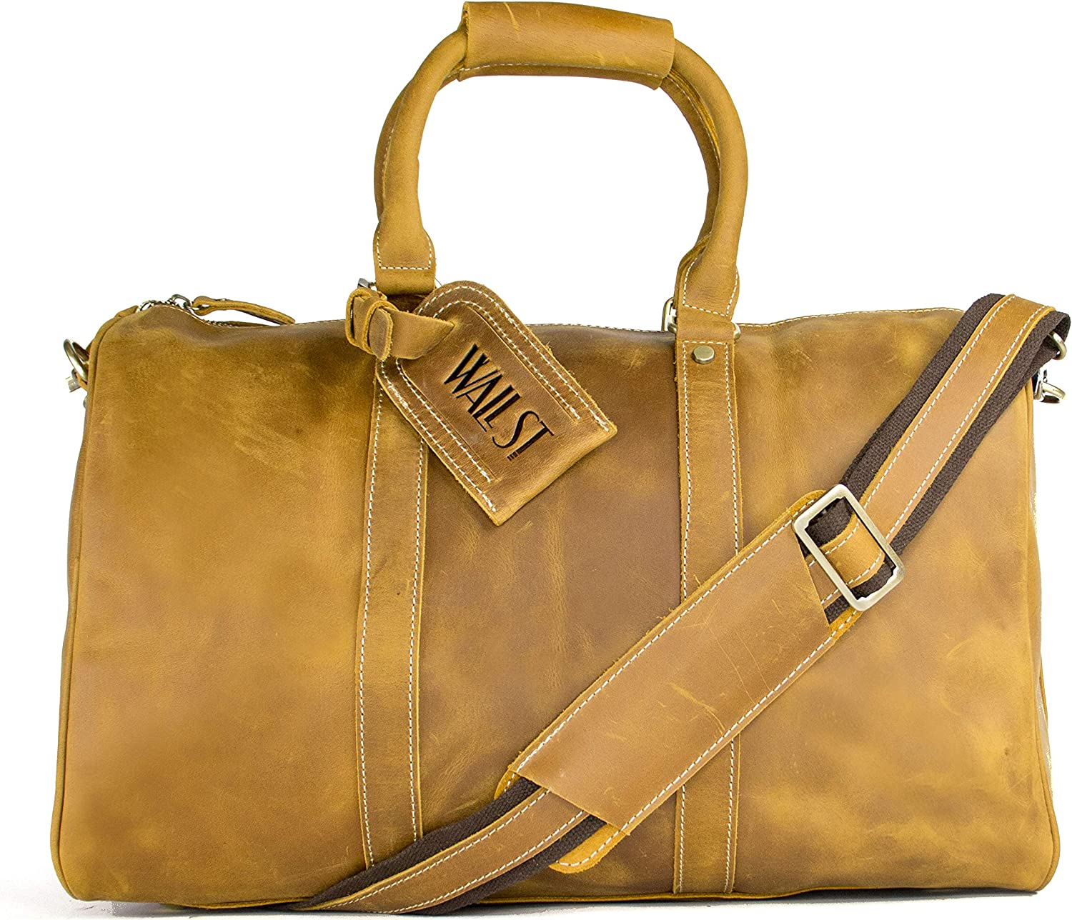 WALL ST MAKER The Weekender Large Duffel Bag Genuine Leather Tote Carry-On Travel Bag Yellow Brown