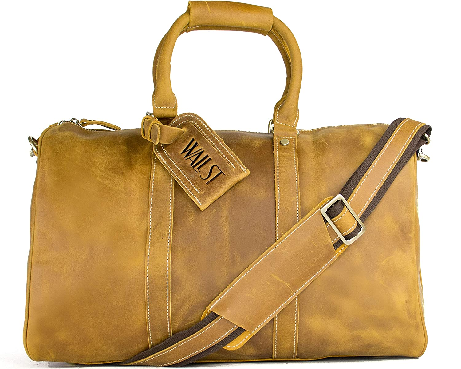 Wall ST Maker The Weekender Overnight Large Duffel Bag Genuine Leather Tote Carry-On Travel Bag (Dark Brown)