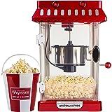 Andrew James Machine à Popcorn Rétro en Style Cinéma Classique avec l'Agitateur Intégré et 4 Boîtes de Popcorn Réutilisables
