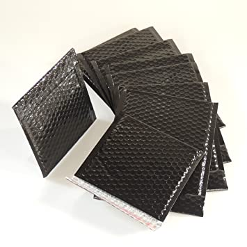 10 Black 165mm x 140mm A6//C6 Shiny Metallic Bubble Padded Bag Mailing Envelopes