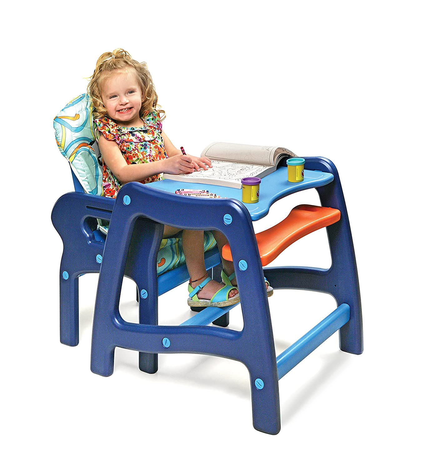 Great Amazon.com : Badger Basket Envee Baby High Chair With Playtable Conversion,  Orange/Blue : Childrens Highchairs : Baby