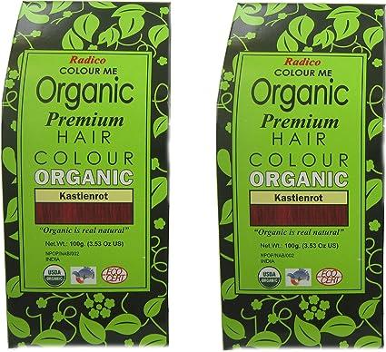 Radico 2 unidades (Auburn Red) Colour Me Organic Tinte para el cabello vegetal (orgánico, vegano, cosmética natural), color castaño rojox2