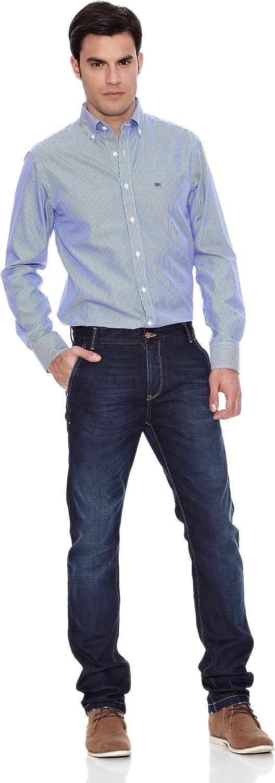 Pedro del Hierro Camisa Non Iron Raya Blanca F.Color Azul Marino L: Amazon.es: Ropa y accesorios