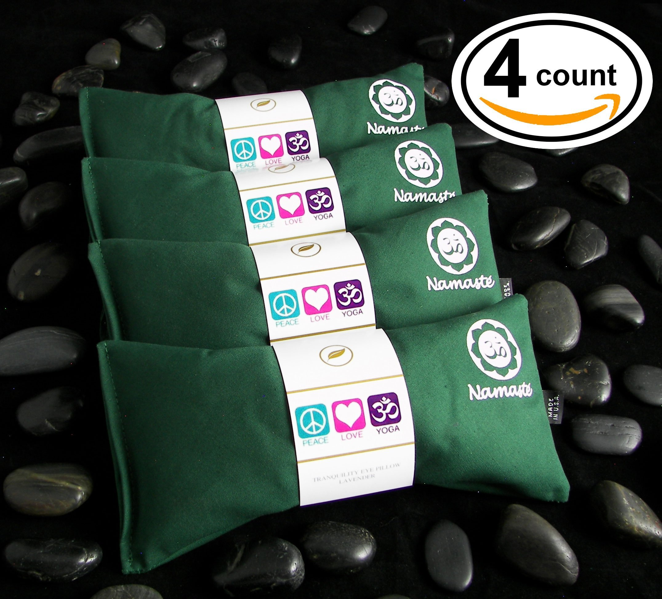 Happy Wraps® Yoga Lavender Eye Pillows - 4 Pieces - Green Cotton