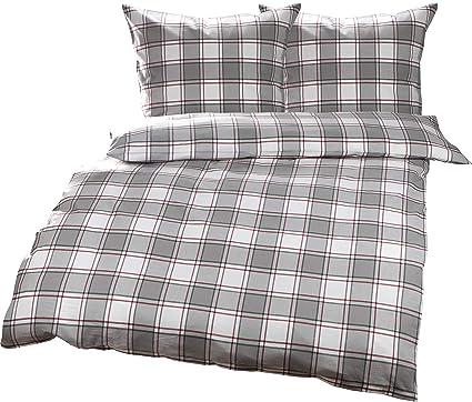 Bettwaesche-mit-Stil Warme Fein-Flanell Winter Bettwäsche Espoo Karo rot  grau weiß kariert (200 cm x 200 cm + 2X 80 x 80)