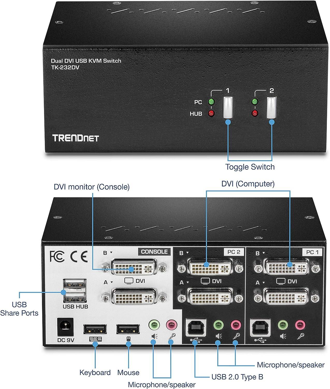 TRENDnet 2-Port Dual Monitor DVI KVM Switch with Audio 2-Port USB 2.0 Hub Digital Resolutions up to 1920 x 1200 Analog Resolutions up to 2048 x 1536 TK-232DV
