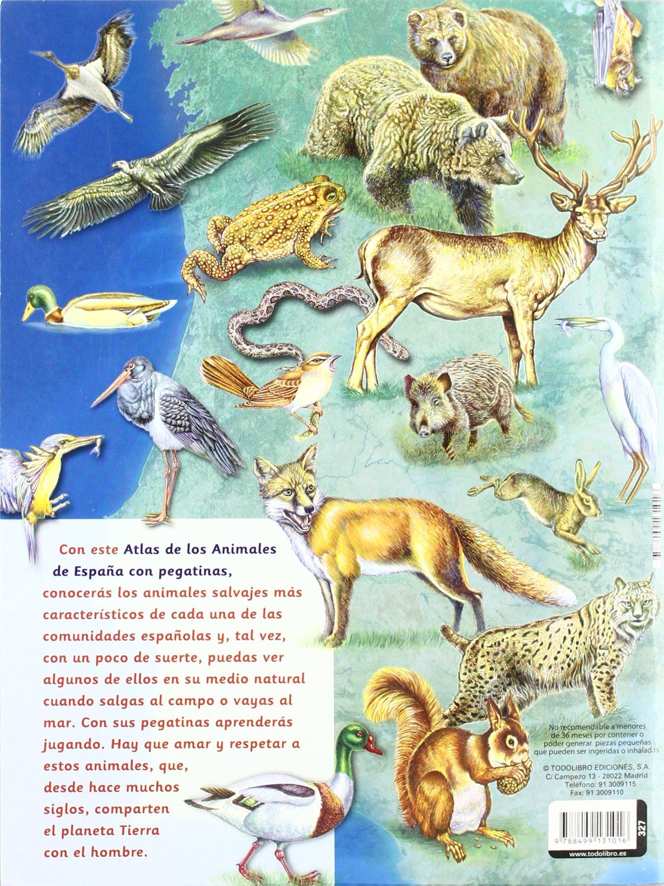 Atlas de los animales de España con pegatinas: Amazon.es: Todolibro, Equipo, Todolibro, Equipo: Libros