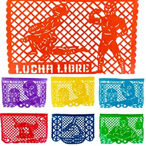 Lucha Libre Papel Picado Banners- Rainbow Horizontal Large (16 Feet) Mexican PLASTIC Garland featuring Los Luchadores Blue Demon and Santo