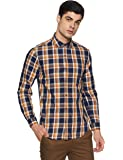 BUFFALO By FBB Men's Checkered Regular Fit Casual Shirt (1000857503_Brown_Medium)