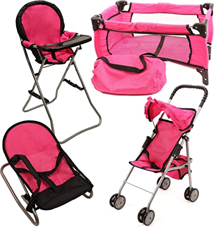 Mommy /& Me 3 in 1 Doll Play Set 1 Doll Pack N Play 2 Doll Bouncer 3.Doll High Chair Fits 18 Doll