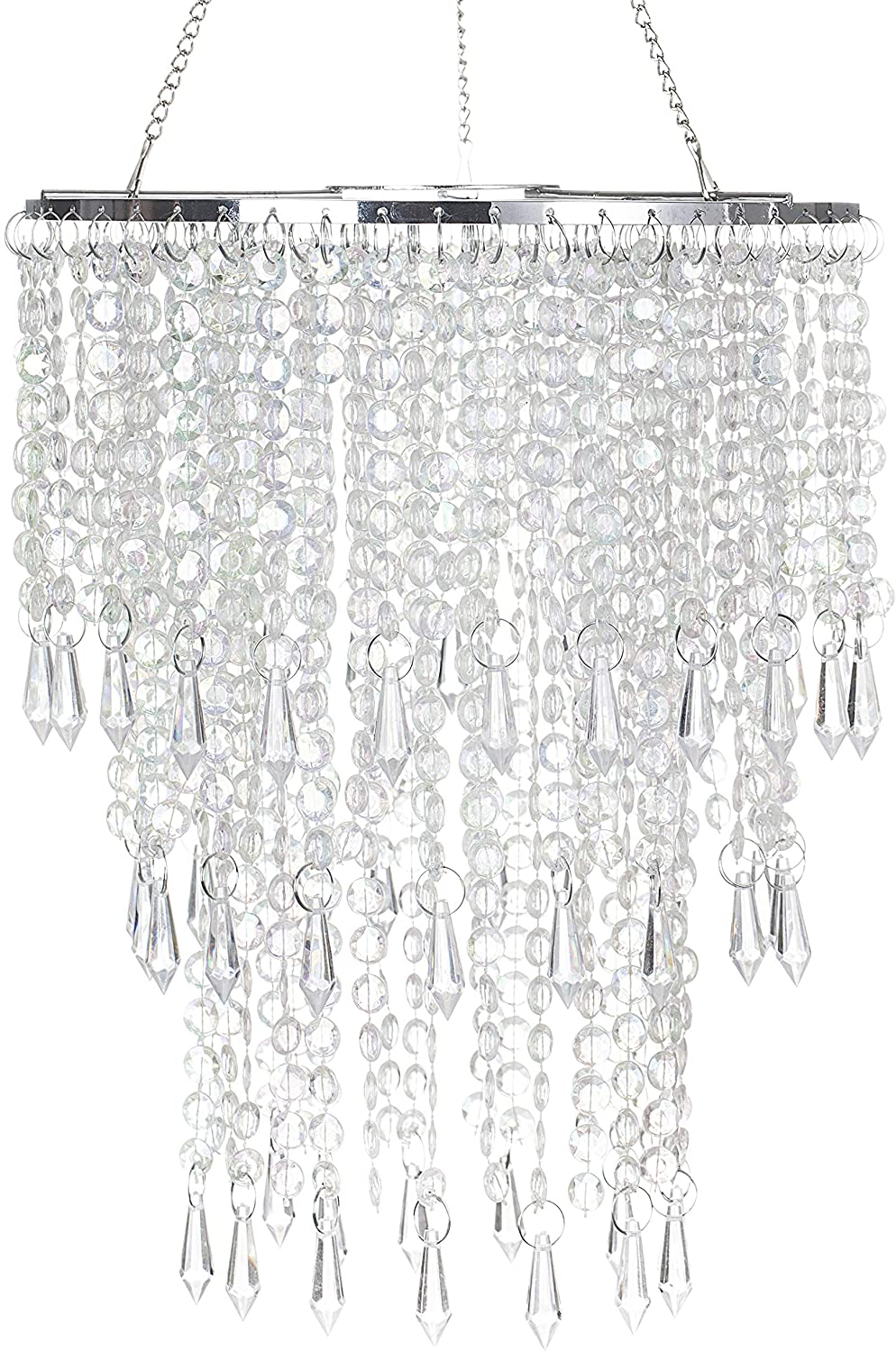 Sparkling Iridescent Beaded Chandeliers 8.6 inches Diameter for Wedding Centerpiece Living Room Bedroom Event Party