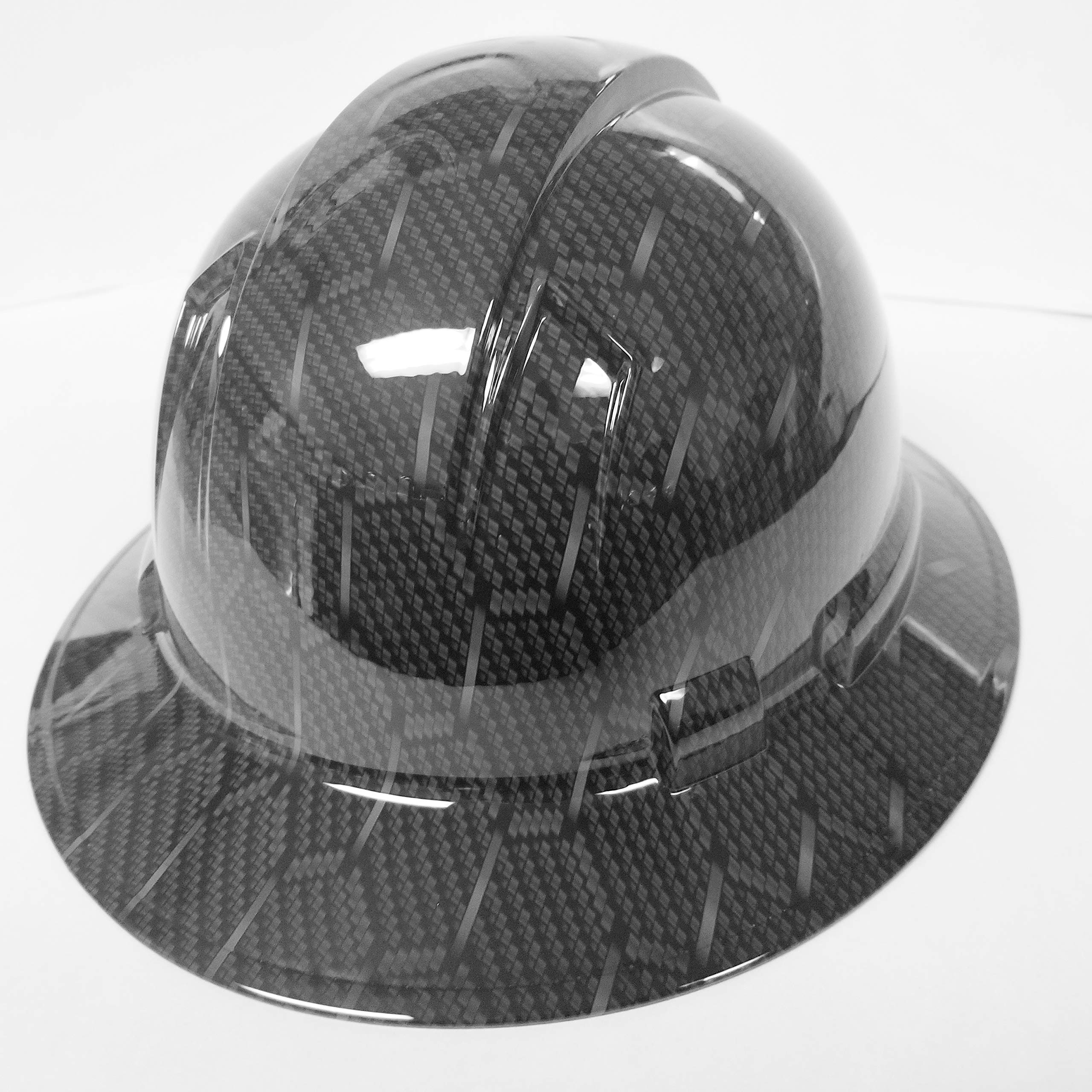 Wet Works Imaging Customized Pyramex Full Brim HEX Weave Carbon Fiber 3D Limited Hard HAT with Ratcheting Suspension Custom LIDS Crazy Sick Construction PPE by Wet Works Imaging (Image #4)