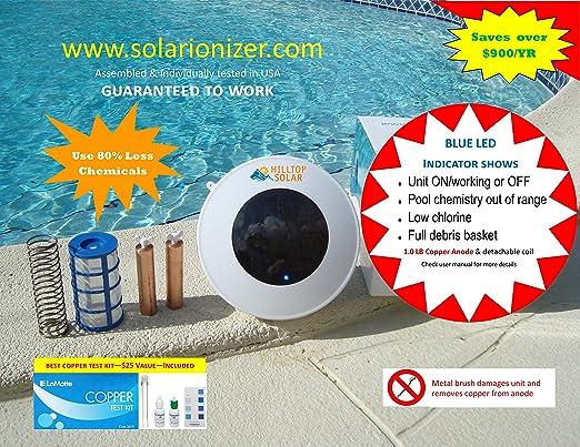 Purificador/ionizador de agua solar para piscina/spa con LED (se ...