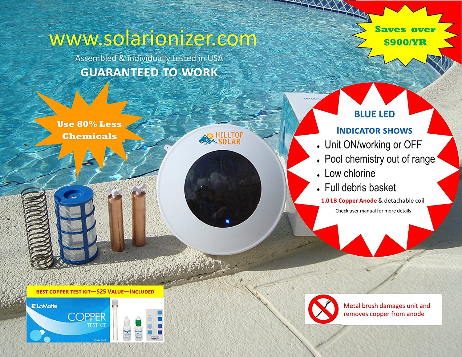 Solar pool/spa water purifier/ionizer with LED (Lights up if