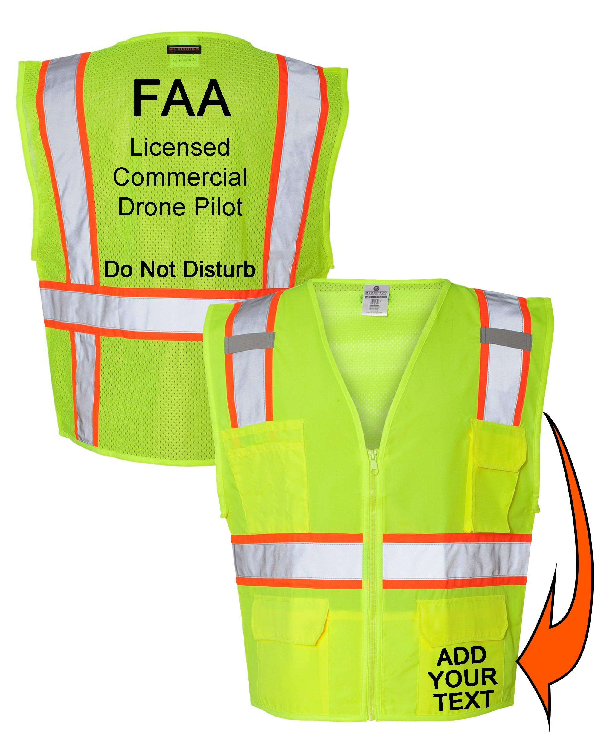Custom Safety Reflective Mesh Vest with Zipper - Personalized Drone Pilot Vest by Safety Miracle (Image #1)