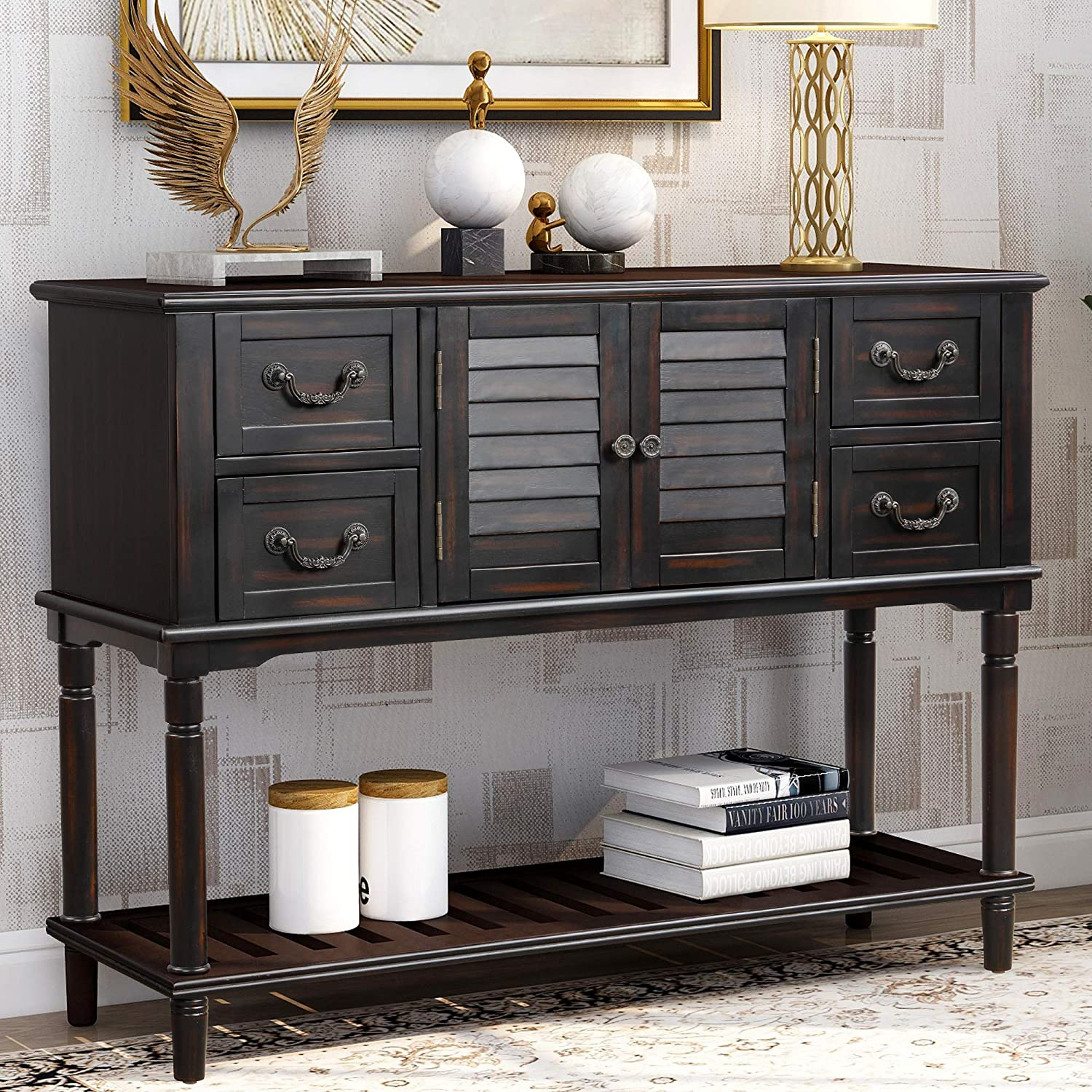 LUMISOL Console Table Sideboard Entryway Sofa Table with 4 Storage Drawers, Shutter Doors and Bottom Shelf (Espresso)