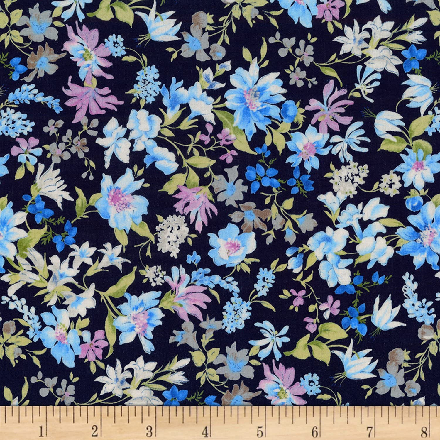 Kaufman Sevenberry: Petite Garden Lawn Flowers Navy Fabric by The Yard
