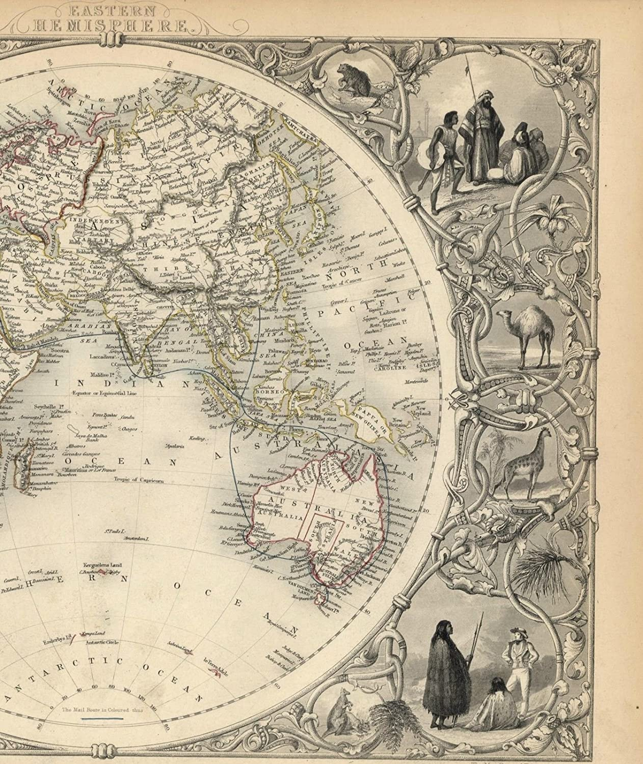 Map Of New York 1850.Amazon Com World Eastern Hemisphere Asia Mts Moon Africa Australia