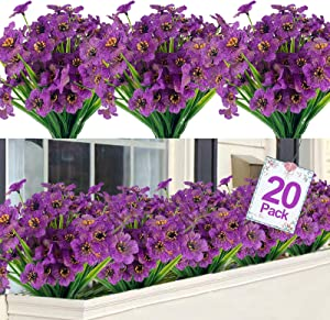 TURNMEON Artificial Flowers Outdoor UV Resistant Plastic Plant Silk Flower, Faux Fake Flower Greenery Shrub Plant Indoor Outdoor Hanging Planter Home Garden Porch Window Box Decor (Purple, 20)