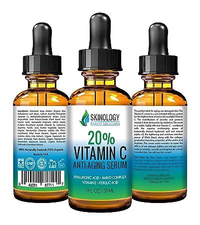 BEST ORGANIC Vitamin C 20% Serum for Face with Hyaluronic Acid, Jojoba Oil &Vitamin