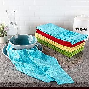 "Lavish Home Kitchen Dish Towels- Set of 8-16""x28"", Multiple"