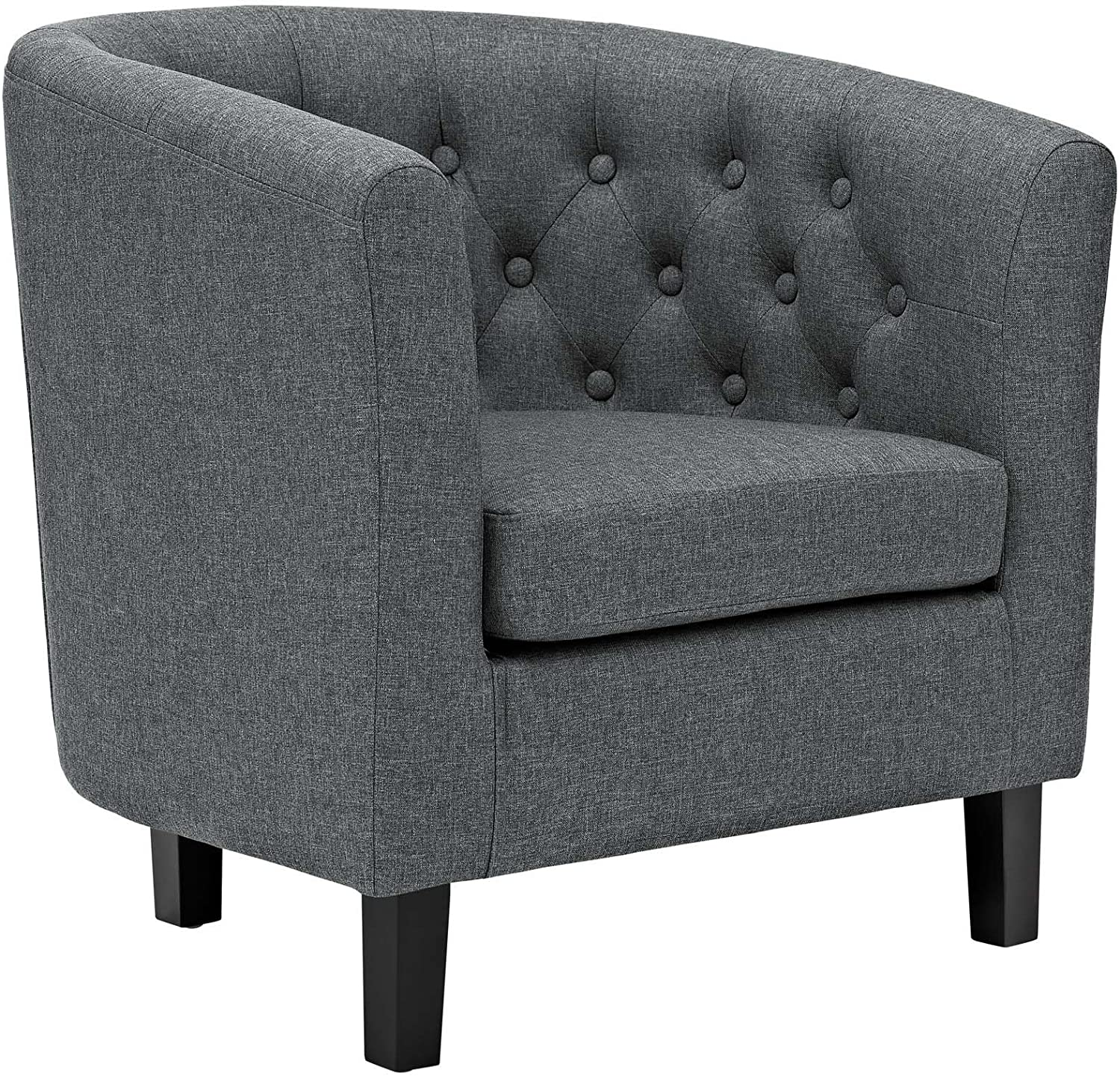 Modway Prospect Upholstered Fabric Contemporary Modern Accent Arm Chair in Gray