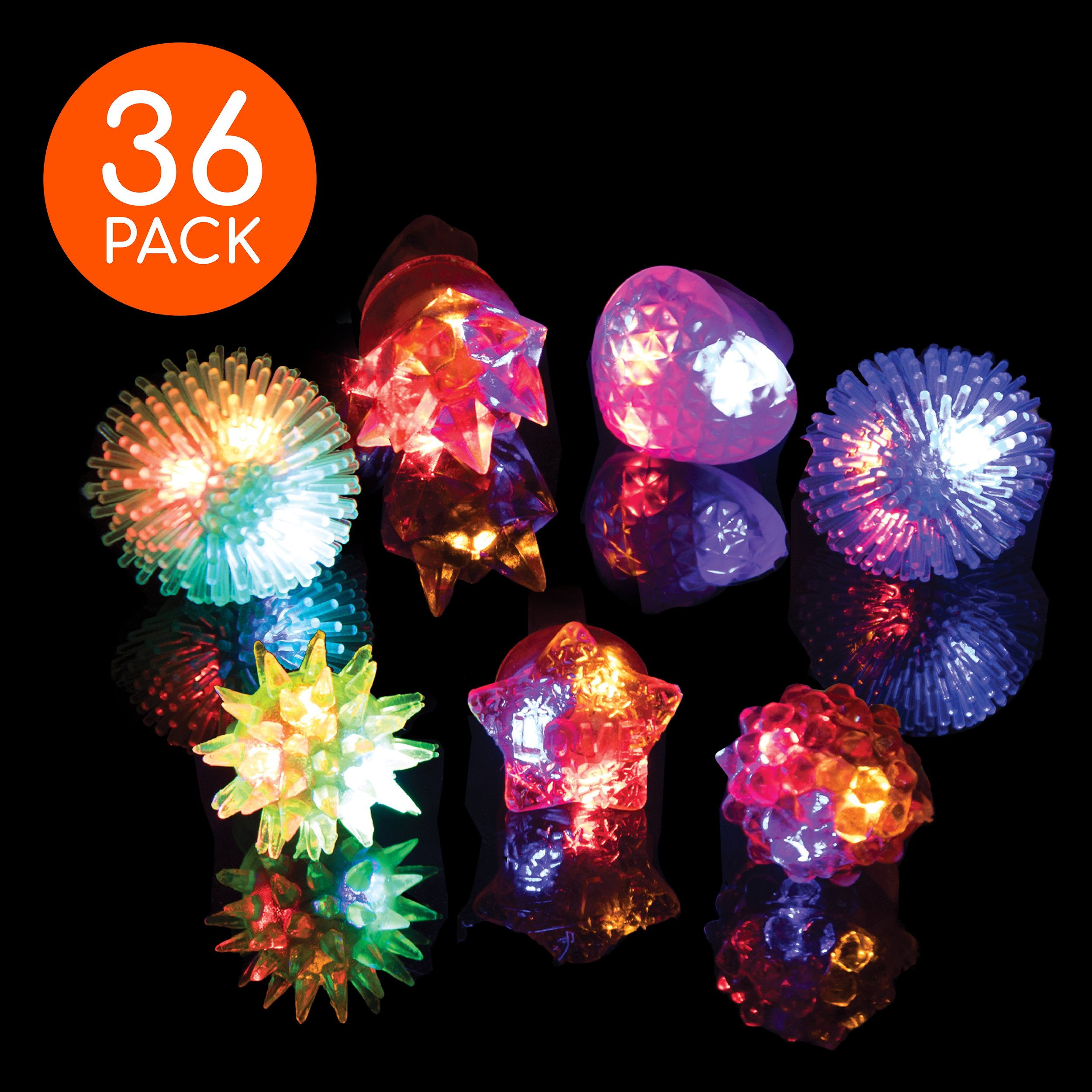 LED Party Favors for Kids – 36 Pc LED Glow in The Dark Jelly Rings Party Favors Bulk Glow in The Dark Party Supplies in Assorted LED Ring Colors by PartySticks (Image #1)