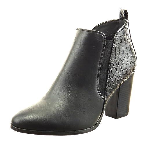 Sopily - Zapatillas de Moda Botines Chelsea Boots Tobillo Mujer Piel de Serpiente Talón Tacón Ancho Alto 8 CM - Negro CAT-3-AS1549 T 41: Amazon.es: Zapatos ...
