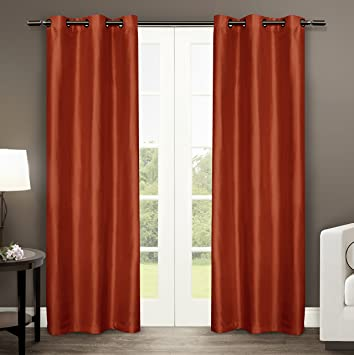 Exclusive Home Dupioni Faux Silk Grommet Top Window Curtain Panels 40u0026quot;  X 84u0026quot;,