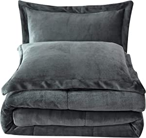 Chezmoi Collection FS200 3-Piece Micromink Sherpa Reversible Down Alternative Comforter Set (Queen, Gray), Blanket