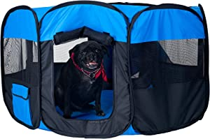 """PETMAKER Pop-Up Playpen - 42"""" x 25"""" Portable Octagon Exercise Enclosure with Zipper Top for Cats, Kittens, Dogs, Puppies and Rabbits (Blue/Black)"""