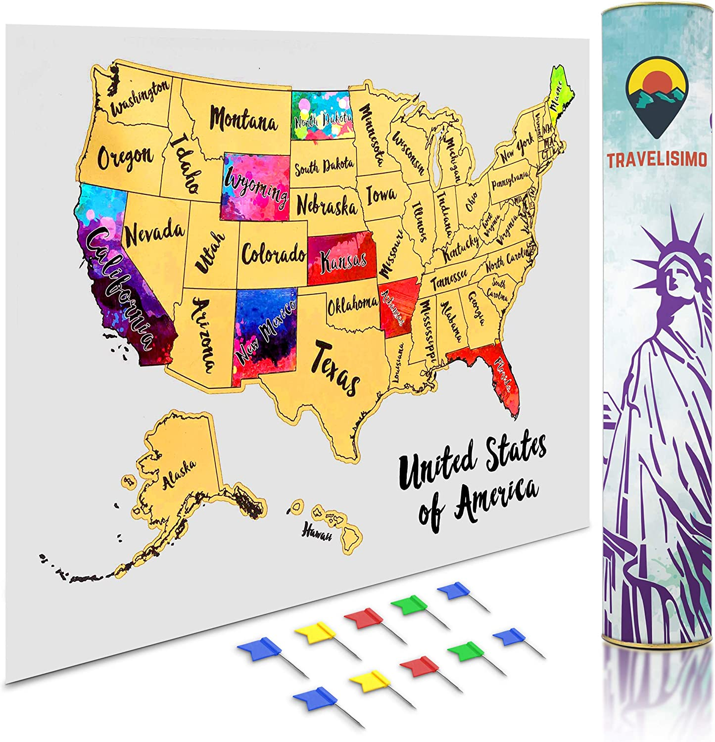 united states road map poster Amazon.com: Travelisimo Scratch off Map of the United States