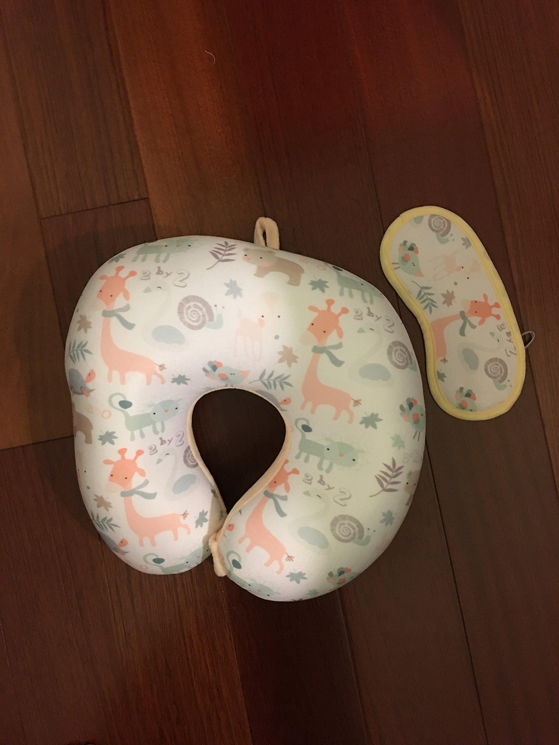 PurpleClay Soft Memory Foam Neck Pillow with Eye Mask (Animal/Peach)