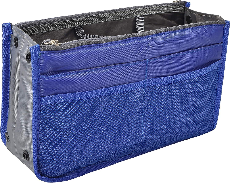 Vercord Purse Organizer Insert for Handbags Bag Organizers Inside Tote Pocketbook Women Nurse Nylon 13 Pockets Royal Blue Large