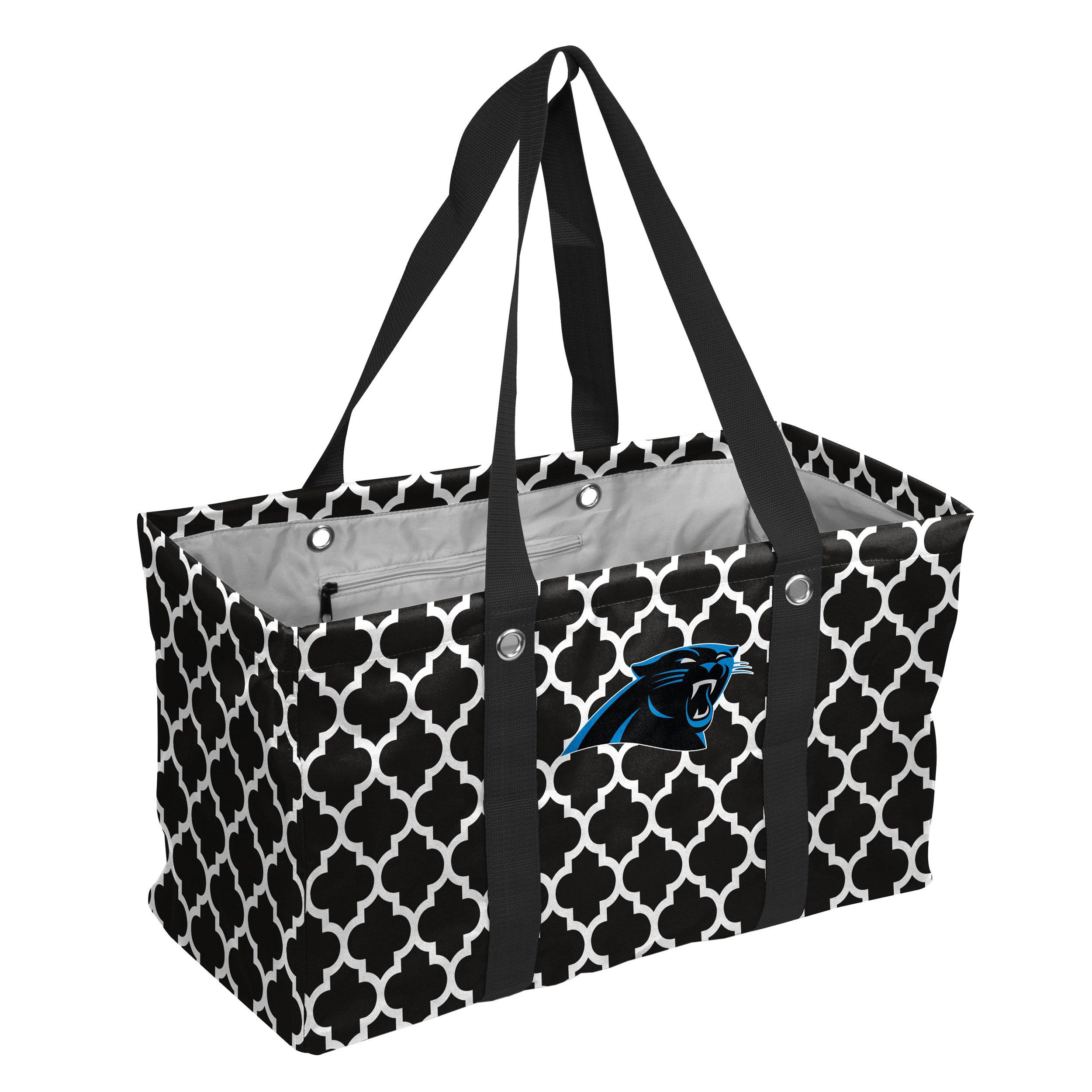 Logo Brands NFL Carolina Pantsshers Quatrefoil Picnic Caddy, Black, One Size