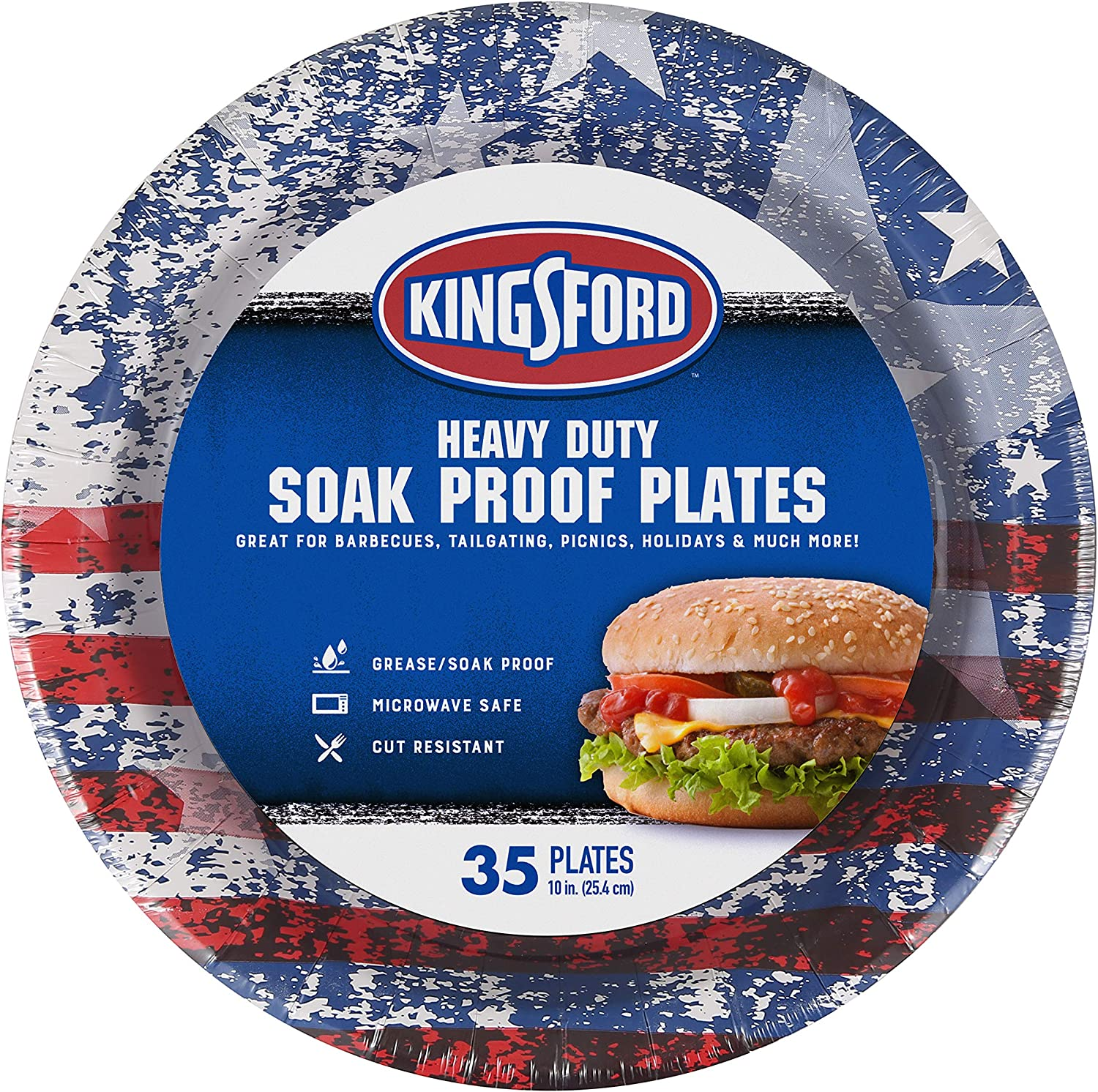 Kingsford Heavy Duty Paper Plates, 35 Count, American Flag
