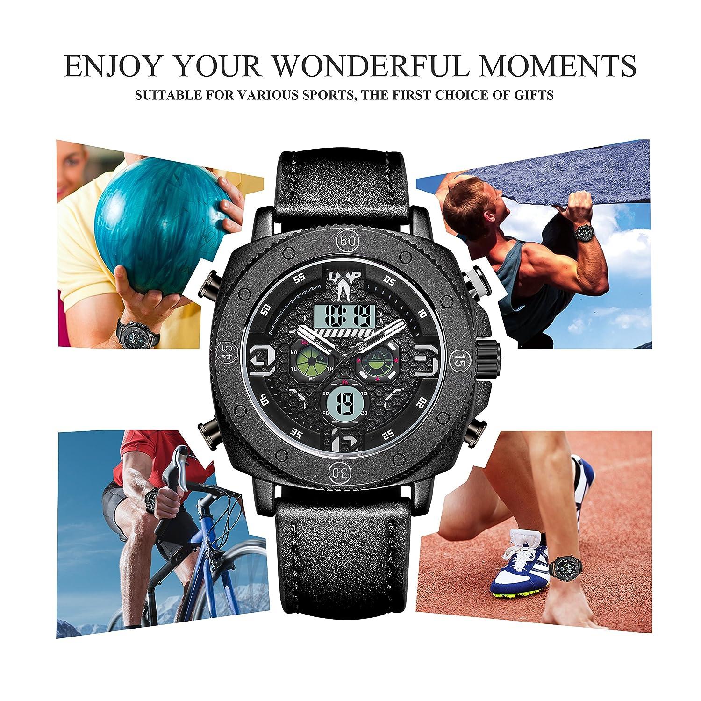 LEAP X PIONEERS Vattentät sport dubbel klocka bakgrundsbelysning armbandsur med justerbart läderband LPT01 Vitt