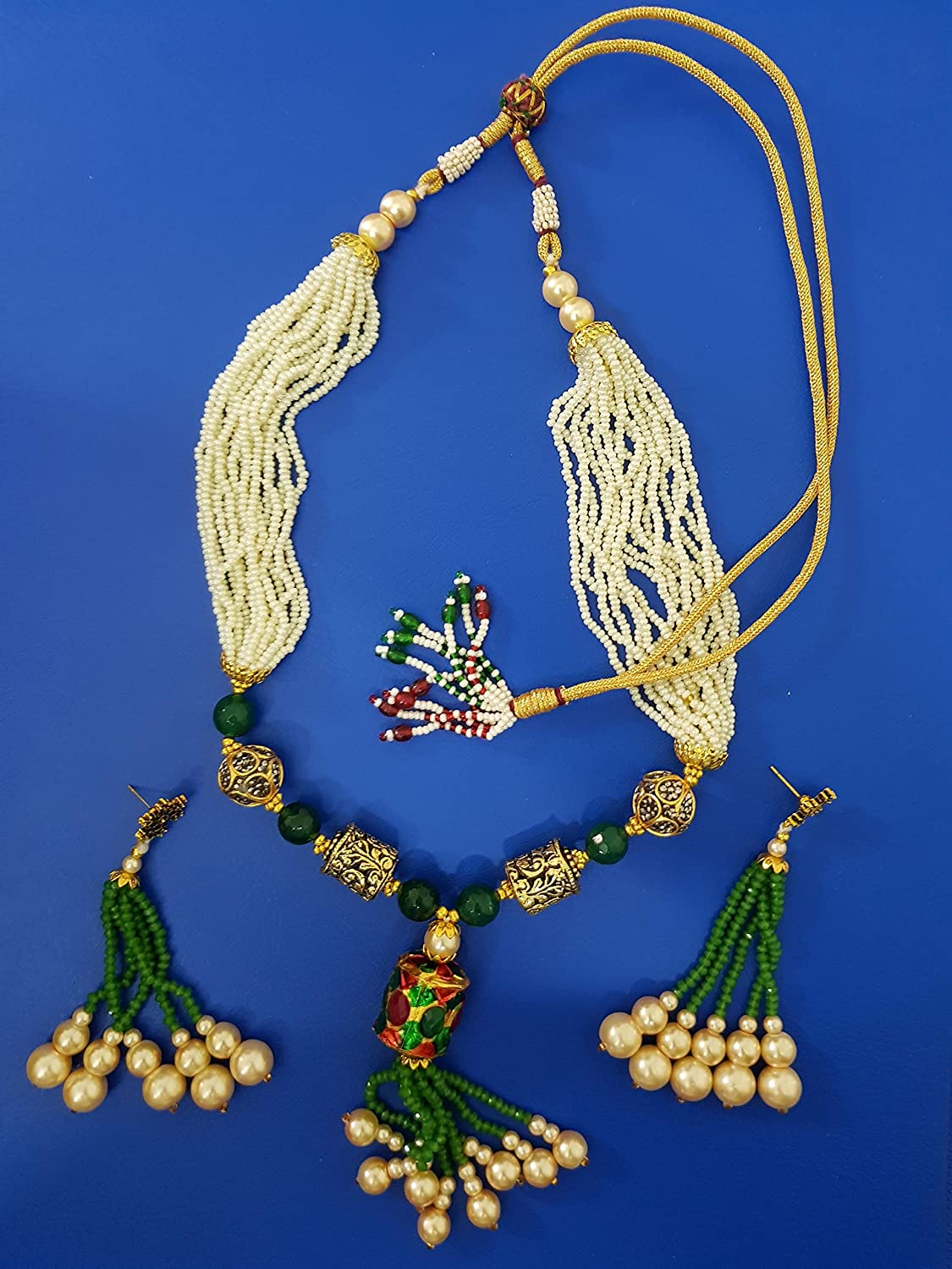 Sansar India Beaded Tassel Indian Necklace Jewelry for Girls and Women 1265a