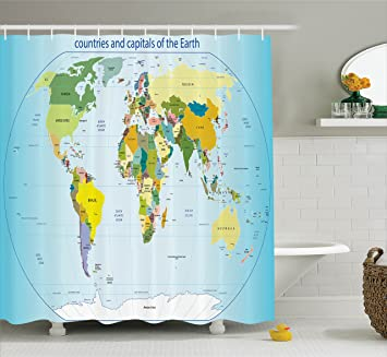 Amazoncom Ambesonne Wanderlust Decor Collection World Map with