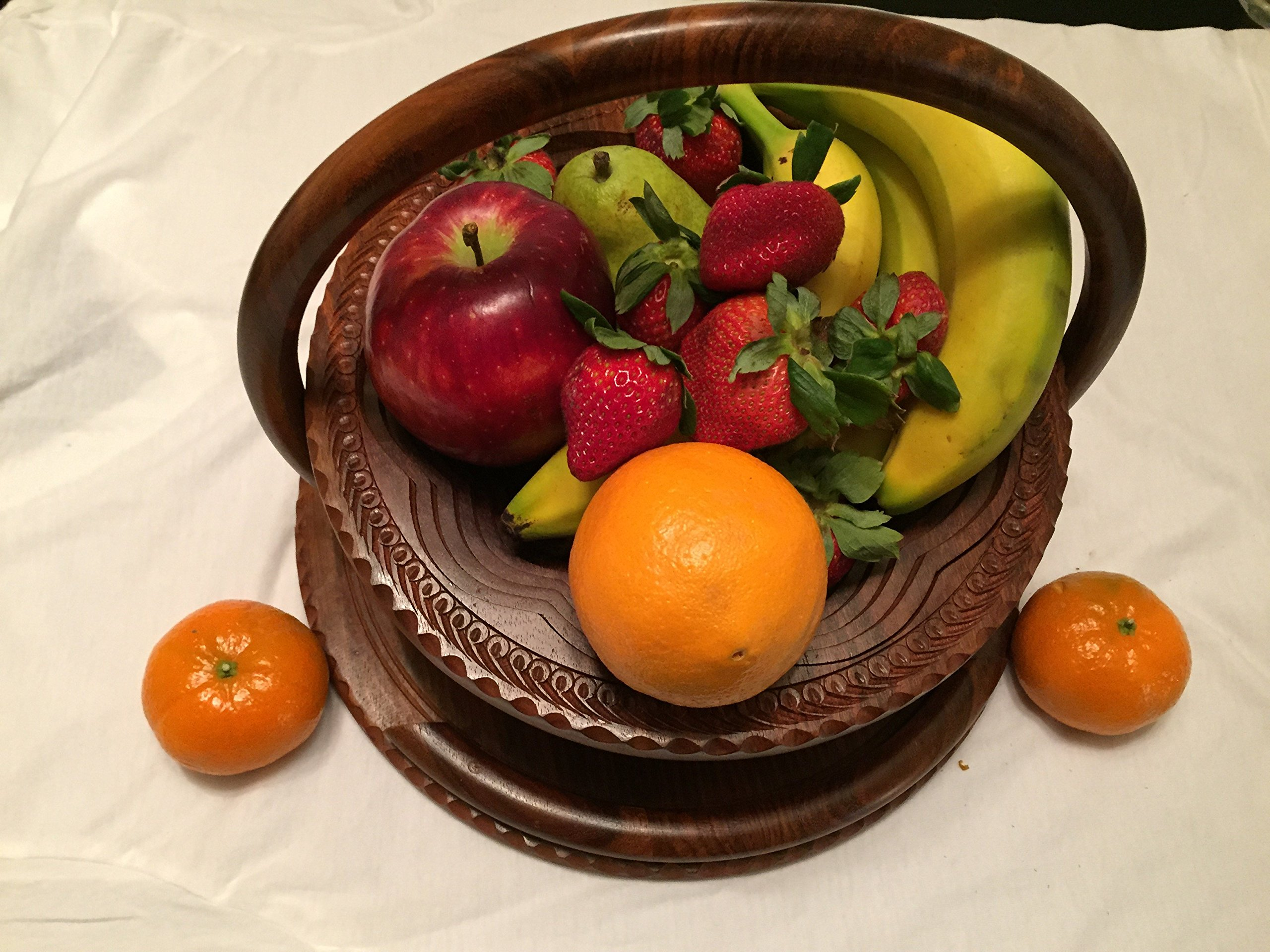 Special DAY Wedding LOVE Gift Wooden Collapsible Fruit Basket (12''x12''x12'') Elegant Wooden Foldable Fruit Basket Circular Hand Crafted Valentine Day Gift