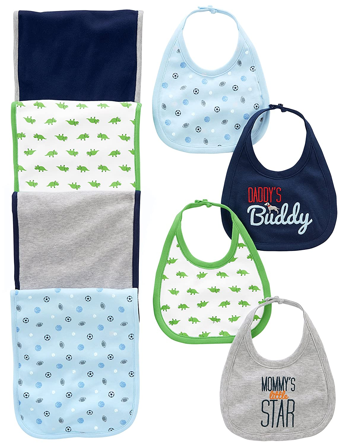 Simple Joys by Carter's Baby Boys' 8-Pack Burp Cloth and Bib Set Sports/Dino One Size Simple Joys by Carter' s A26G010